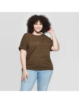 Women's Plus Size Short Sleeve Crewneck Pullover Sweater   Universal Thread by Universal Thread