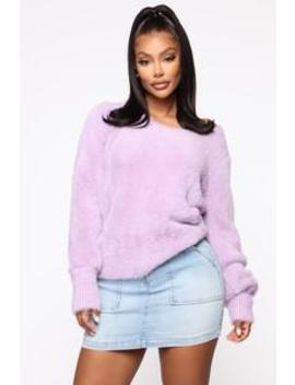 Flirting With You Eyelash Sweater   Lavender by Fashion Nova