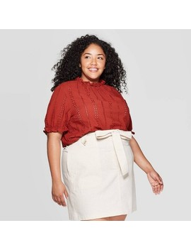 Women's Plus Size Short Sleeve Crewneck Eyelet Top   Universal Thread Rust by Universal Thread Rust