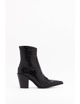 Gotta Point Patent Croc Boots by Nasty Gal