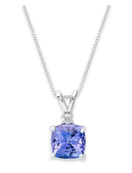 14k White Necklace, Tanzanite (1 5/8 Ct. T.W.) And Diamond Accent Cushion Pendant by General