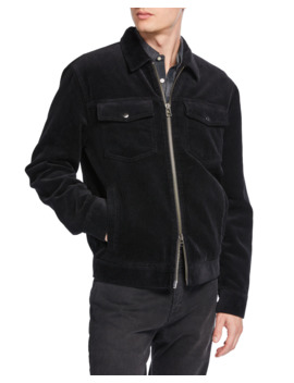 Men's Corduroy Zip Front Trucker Jacket by Frame