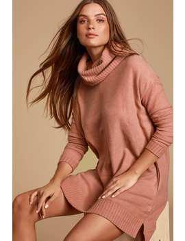 Autumn Daze Mauve Pink Cowl Neck Long Sleeve Sweater Dress by Lulus