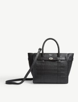 Bayswater Mini Croc Embossed Leather Tote by Mulberry