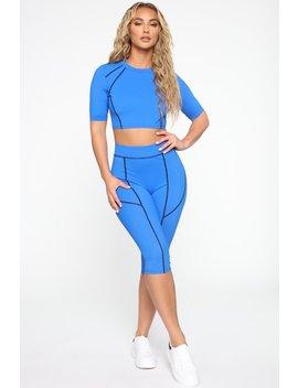 Holla At Ya Girl Lounge Set   Blue/Black by Fashion Nova