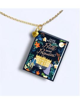 Pride And Prejudice   Flower Cover With Tiny Gold Heart Charm And Gold Plated Chain  Miniature Book Necklace   by Etsy