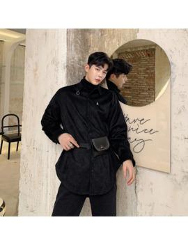 Men Include Belt Rivet Leather Bag Loose Long Sleeve Casual Velvet Thick Shirt Male Streetwear Hip Hop Punk Gothic Shirts Coat by Ali Express.Com