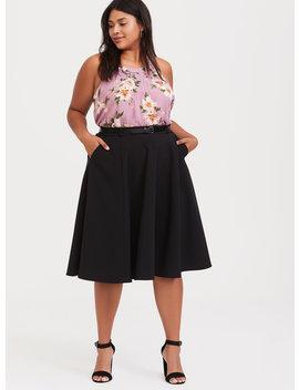 Black Midi Skater Skirt With Belt by Torrid