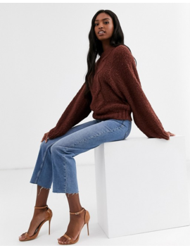 Asos Design Tall Cable Sweater In Lofty Yarn With Volume Sleeve by Asos Design