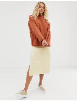 Weekday High Neck Sweater In Rust by Weekday