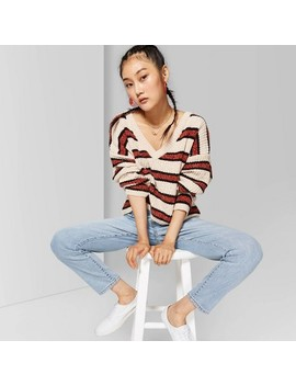 Women's Striped Long Sleeve V Neck Sweater   Wild Fable Beige/Brown by Neck Sweater