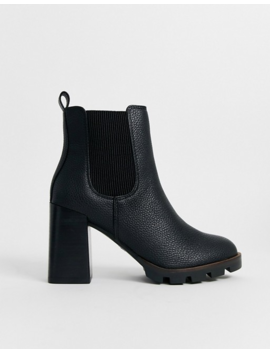 River Island Chunky Cleated Heeled Chelsea Boots In Black by River Island
