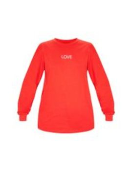 Red Love Embroidered Long Sleeve T Shirt by Prettylittlething