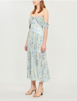 Off The Shoulder Floral Print Pleated Chiffon Midi Dress by Self Portrait