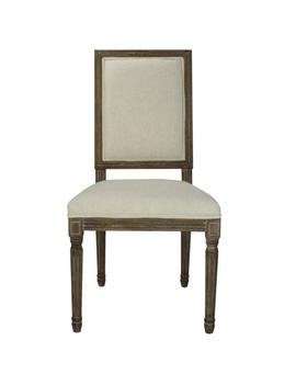Louis Weathered Beige Upholstered Square Side Chair (Set Of 2) by Home Depot