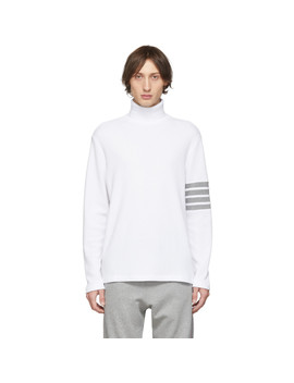 White Waffle Knit 4 Bar Turtleneck by Thom Browne