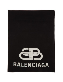 Black 'bb' Blanket Scarf by Balenciaga