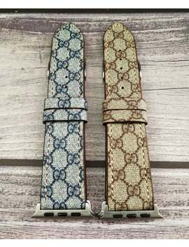Customed Apple Watch Band 44mm/42mm/40mm/38mm Gg Genuine Leather Band For Men And Women Iwatch Series 1 2 3 4 Nike All Version Straps by Etsy