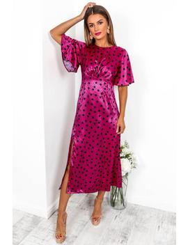 Let's Split   Maxi Dress In Magenta/Spot by Dlsb