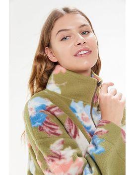 Uo Torrance Floral Fleece Half Zip Sweatshirt by Urban Outfitters