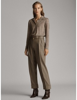 100%-wool-flannel-trousers-with-buckle by massimo-dutti