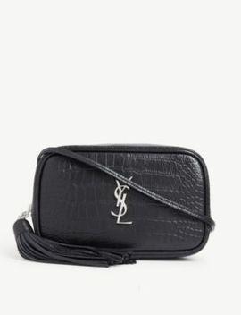 Croc Embossed Lou Shoulder Bag by Saint Laurent