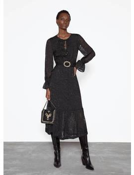 Czarna żakardowa Sukienka by Uterqüe