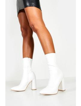 Pointed Toe Block Heel Sock Boots by Boohoo