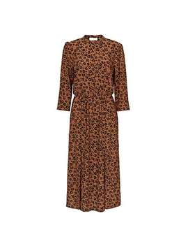Natural Animal Print Tan Midi Dress by Olivar Bonas