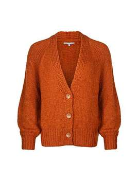 Chunky Boyfriend Rust Brown Knitted Cardigan by Olivar Bonas
