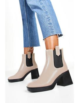 Croc Chunky Heel Chelsea Boots by Boohoo