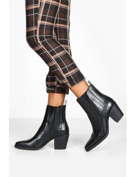 Croc Block Heel Square Toe Western Boots by Boohoo