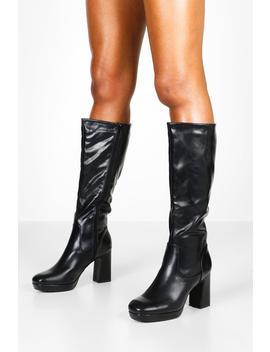 Block Heel Platform Knee High Boots by Boohoo