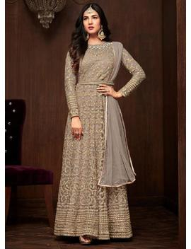 Bridal Wear Grey Net Full Length Anarkali Suit Party Wear Heavy Embroidered Gown Indian Traditional Anarkali Suit by Etsy