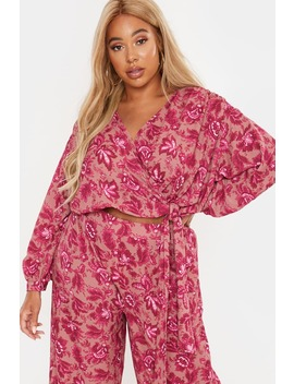Curve Laila Loves Pink Floral Tie Side Wrap Top by In The Style