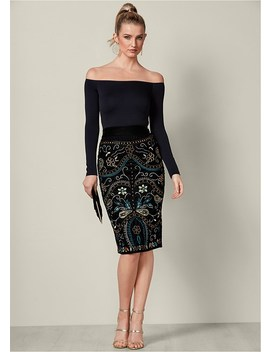 Embellished Midi Skirt by Venus