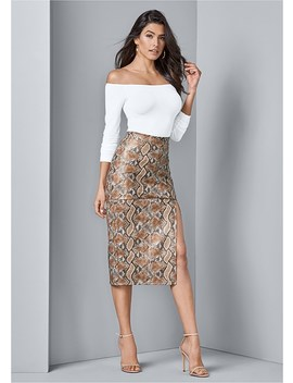 Faux Leather Print Skirt by Venus
