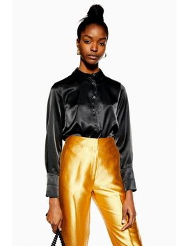 Black Satin Button Down Shirt by Topshop