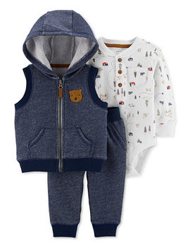 Baby Boys 3 Pc. French Terry Vest, Jogger Pants & Thermal Bodysuit Set by General