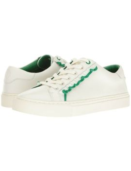 Tory Burch Ruffle Sport Leather Low Top Sneakers Snow White/Vineyard Green 7.5 M by Tory Burch