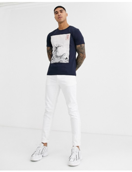 Solid T Shirt With Japanese Wave Print by Solid