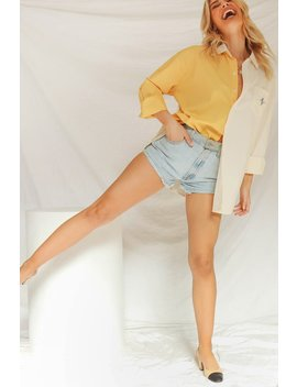 Paint It Pastel Button Up Shirt // Yellow by Vergegirl