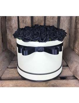 Artificial Hat Box Arrangement. Box Of Roses. Cream Box With Black Roses by Etsy