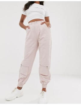 Pretty Little Thing Cargo Trousers With Pocket Detail In Pale Pink by Pretty Little Thing