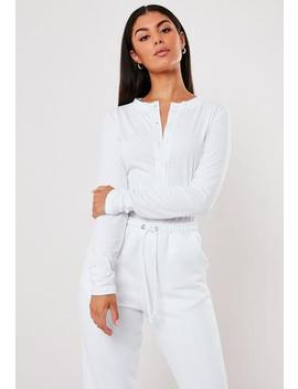 White Button Front Long Sleeve Crop Top by Missguided