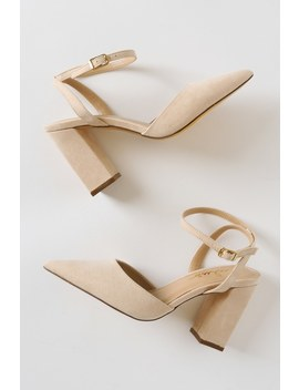 Viki Nude Suede Pointed Toe Ankle Strap Pumps by Lulus