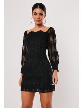 Black Milkmaid Lace Button Through Mini Dress by Missguided