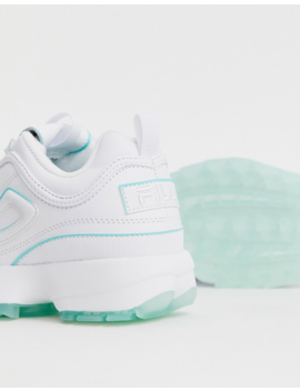 Fila Disruptor Ii Sneakers In White With Ice Blue Sole by Fila
