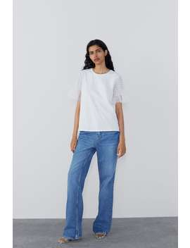 T  Shirt With Dotted Mesh Sleeves View All T Shirts Woman by Zara