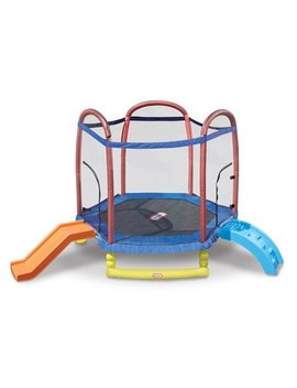 Little Tikes Climb 'n Slide 7 Foot Trampoline, With Enclosure, Blue by Little Tikes